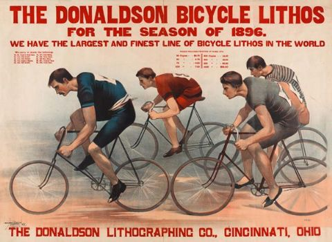 Vintage Bicycle Race T-Shirt. 12 Sizes. Donaldson lithos Cycling Poster Tee Gift